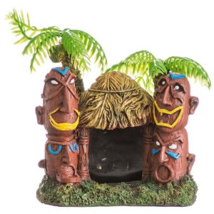 Blue Ribbon Exotic Environments Betta Hut with Palm Trees Aquarium Ornament