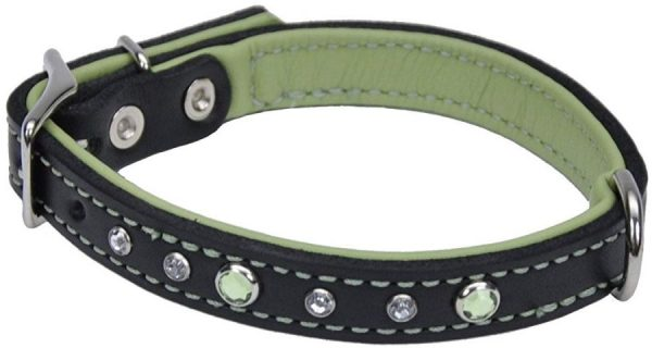 CircleT Fashion Leather Jewel Collar Green