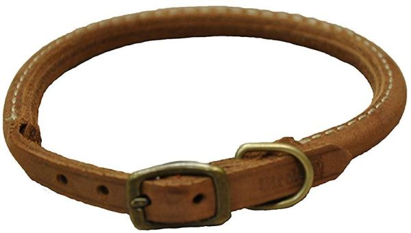 CircleT Rustic Leather Dog Collar Chocolate