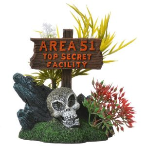 Exotic Environments Area 51 Top Secret Sign Aquarium Ornament