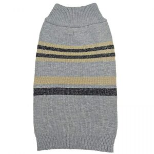 Fashion Pet Shimmer Stripes Dog Sweater - Gray