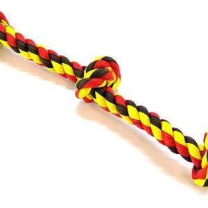 Flossy Chews Colored 3 Knot Tug Rope