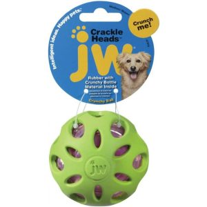 JW Pet Crackle Heads Ball Dog Chew Toy - Assorted