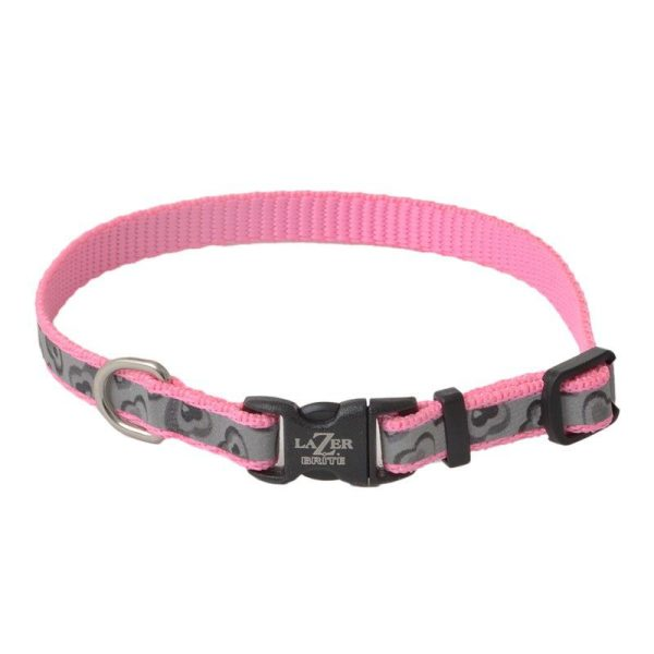 Lazer Brite Pink Hearts Reflective Adjustable Dog Collar