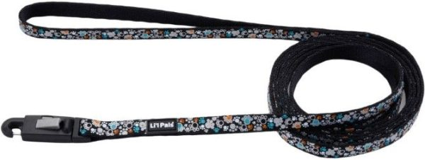 Li'L Pals Reflective Leash - Teal and Orange Paws