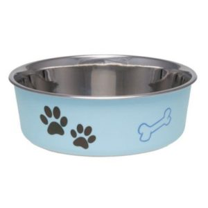 Loving Pets Stainless Steel & Light Blue Dish with Rubber Base