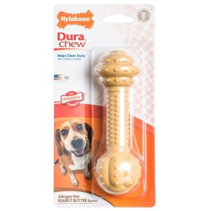 Nylabone Dura Chew Barbell Dog Chew Toy - Peanut Butter Flavor