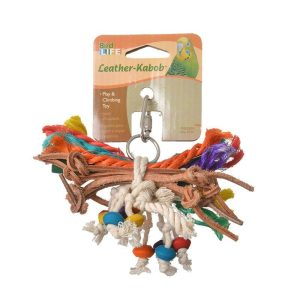 Penn Plax Bird Life Leather-Kabob Parakeet Toy