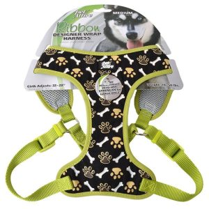 Pet Attire Ribbon Brown Paw & Bones Designer Wrap Adjustable Dog Harness