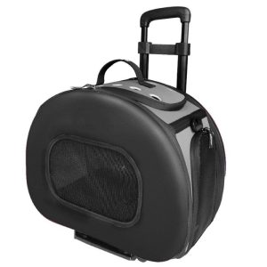 Pet Life Wheeled Tough-Shell Black Collapsible Pet Carrier