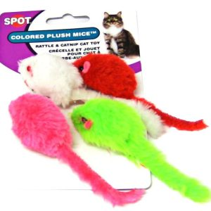 Spot Colored Plush Mice Cat Toys