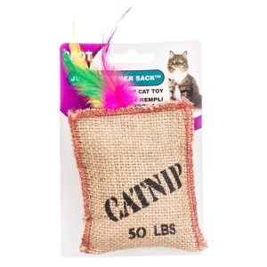 Spot Jute & Feather Sack with Catnip Cat Toy