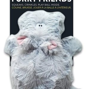 Spunky Pup Furry Friends Hippo with Ball Squeaker Dog Toy