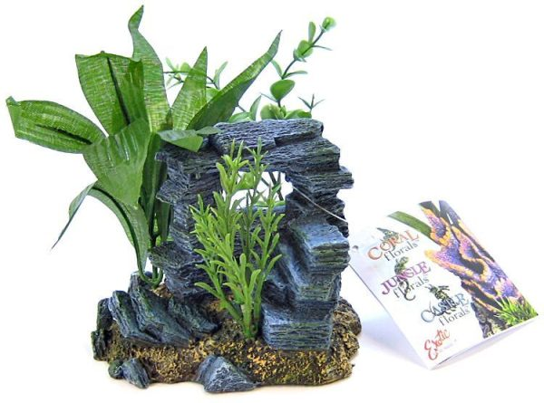 Blue Ribbon Rock Arch with Plants Ornament