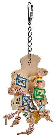 AE Cage Company Happy Beaks Leather Bear with ABC Blocks Assorted Bird Toy
