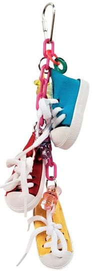 AE Cage Company Happy Beaks Sneakers on a Line Bird Toy