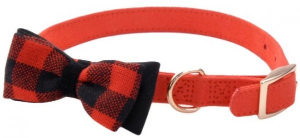 """Coastal Pet Accent Microfiber Dog Collar Retro Red with Plaid Bow 5/8"""" Wide"""