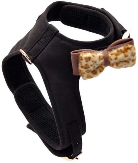 Coastal Pet Accent Microfiber Dog Harness Mod Black with Leopard Bow