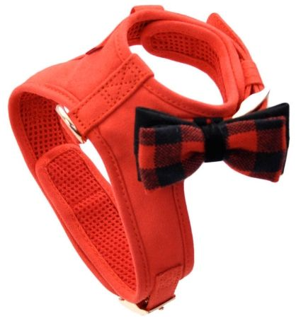 Coastal Pet Accent Microfiber Dog Harness Retro Red with Plaid Bow