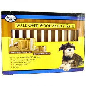 Four Paws Walk Over Wood Safety Gate with Door