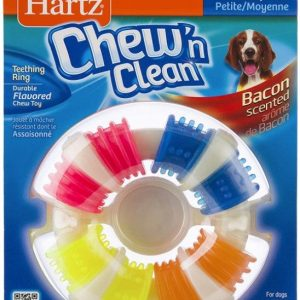 Hartz Chew N ' Clean Bacon Scented Teething Ring Dog Toy