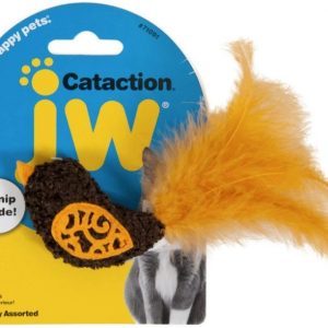 JW Pet Cataction Catnip Bird Cat Toy With Feather Tail