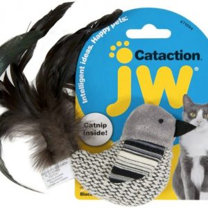 JW Pet Cataction Catnip Black And White Bird Cat Toy With Feather Tail