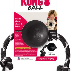 KONG Extreme Ball Dog Chew Toy With Rope Large