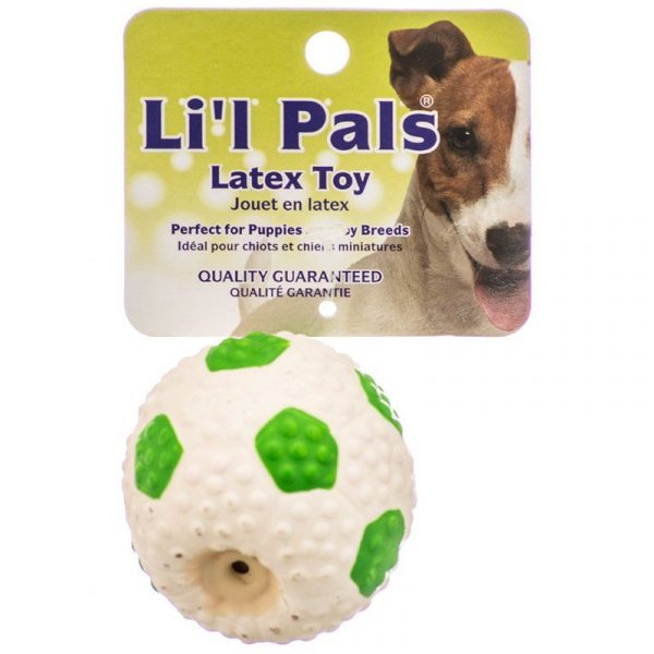 Lil Pals Latex Mini Soccer Ball for Dogs - Green & White