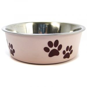 Loving Pets Stainless Steel & Light Pink Dish with Rubber Base