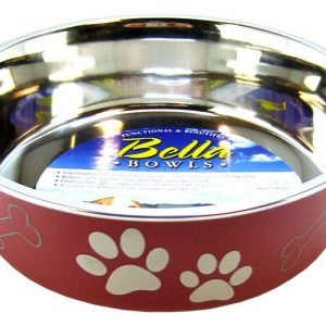 Loving Pets Stainless Steel & Merlot Dish with Rubber Base