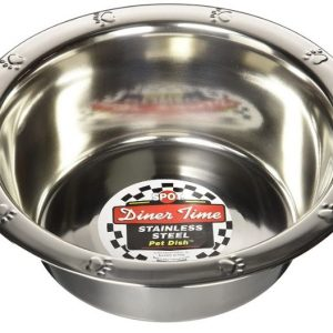 Spot Stainless Steel Embossed Rim Pet Dish