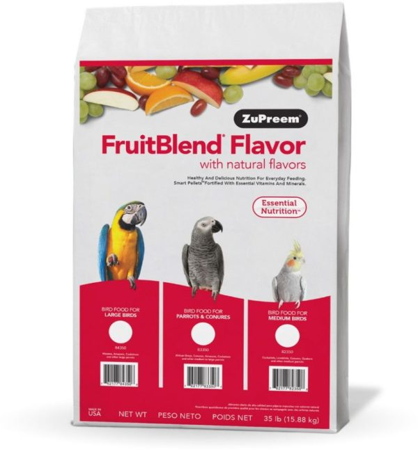 ZuPreem FriutBlend with Natural Fruit Flavors Pellet Birds Food for Parrots and Conures